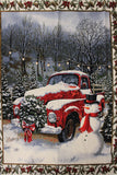 Red Christmas truck panel in Pinecone Border