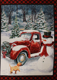 Red Christmas truck panel in Puppy with Red Plaid Border