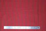 Flat swatch winter series fabric in Black/White Motif on Red