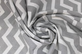 Swirled swatch calico fabric in grey and white zigzag (chevron)