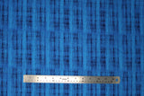 Flat swatch calico fabric in blue & black blended