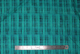 Flat swatch calico fabric in teal & black blended