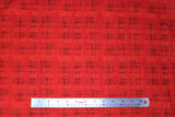 Flat swatch calico fabric in red & black blended