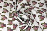 Swirled swatch Celebrate America! printed fabric in Little Barns & American Flags on White