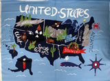 Full swatch Celebrate America! printed fabric in United States Panel