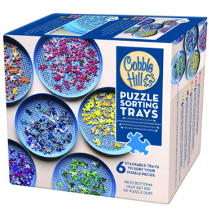 Cobble Hill puzzle sorting trays and sifter in packaging (6 blue stackable trays)