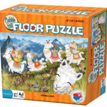 Leaping Llamas floor puzzle packaging (36 pieces)