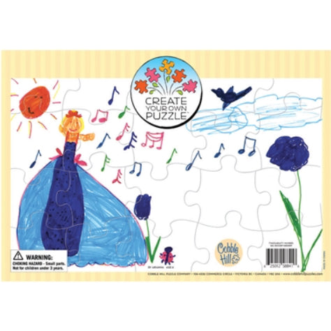 Create your Own Puzzle - features a child's drawing of a girl in a dress with music notes, flowers, a bird, and a smiling sun