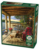 Cottage porch scene (porch on the water, golden lab dog) 1000-piece Cobble Hill puzzle