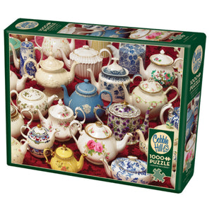 1000 piece puzzle in packaging: Teapots (white/blue/yellow vintage style teapots with floral designs)