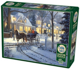 Horse drawn sleigh on snowy residential street 1000-piece Cobble Hill puzzle