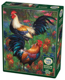 Roosters in grass with flowers 1000-piece Cobble Hill puzzle