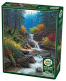 Bears in forest waterfall scene 1000-piece Cobble Hill puzzle
