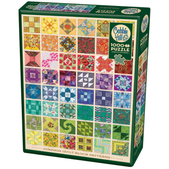 Cobble Hill 1000pc Puzzle - Common Quilt Block Patterns.  Image features a grid of 6 columns wide by 8 rows tall, each row with a different colour.  48 different quilt block designs.