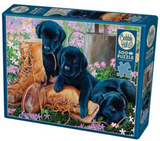 Black lab puppies on brown boots 500-piece Cobble Hill puzzle