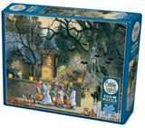 Kids trick or treating at spooky house scene 500-piece Cobble Hill puzzle