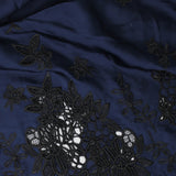 Blue & Black Embroidered Satin - 60""