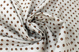 Swirled swatch coffee themed fabric in Brown Circles on White