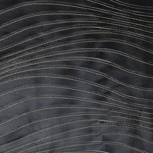 Faux Leather Striped Netting - 59
