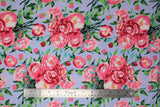 Flat swatch berkshire garden fabric (pale grey/blue fabric with subtle stripe and large tossed pink and red floral bouquets with greenery allover)