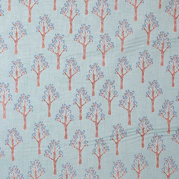 Square swatch lancelot fabric (pale turquoise fabric with cartoon brown trees with tiny blue leaves print allover)