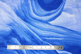 Flat swatch glacier printed fabric in Blue Marble