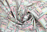 Swirled swatch glam themed fabric in Colourful Word Collage on White