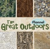 The Great Outdoors Flannel fabrics collection poster showcasing fabric swatches and collection title