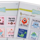 An assortment of diaper label packages including little monsters and diamonds, and flowers and desserts