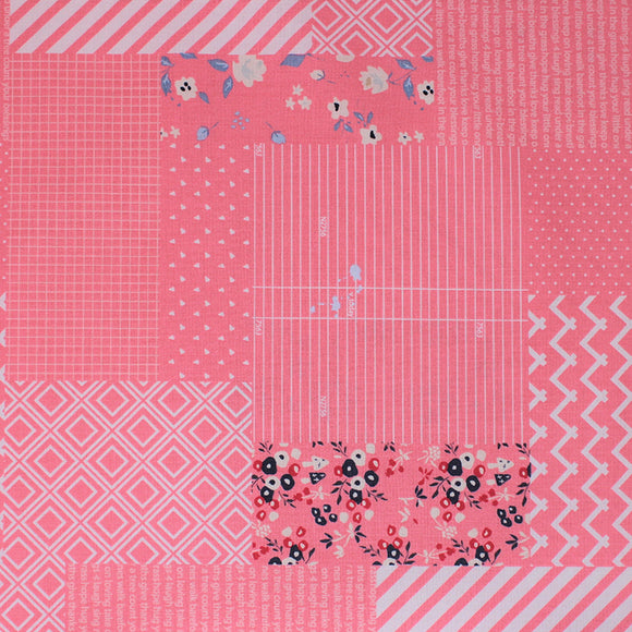 Square swatch someday fabric (bubblegum pink fabric comprised of square and rectangle labels/patches with different styles, some floral, stripes with white, chevron, triangles, etc.)