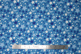 Flat swatch small stars and moons printed fabric in grey