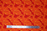 Flat swatch big leaves printed fabric in orange