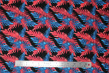 Flat swatch big leaves printed fabric in black