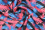 Swirled swatch big leaves printed fabric in black