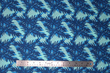 Flat swatch big leaves printed fabric in blue