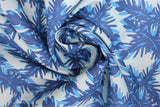 Swirled swatch big leaves printed fabric in blue