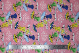 Flat swatch mae flowers scene (girls with umbrellas) printed fabric in pink
