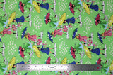 Flat swatch mae flowers scene (girls with umbrellas) printed fabric in green