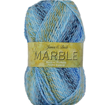 Ball of Marble DK yarn in light to dark blue shades and olive/white with twists