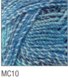 Swatch of Marble Chunky yarn in shade MC10 (light to dark blue shades with twists)
