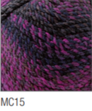 Swatch of Marble Chunky yarn in shade MC15 (medium to dark purple shades with twists)