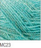 Swatch of Marble Chunky yarn in shade MC23 (light turquoise blue with twists)