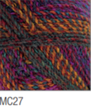 Swatch of Marble Chunky yarn in shade MC27 (deep purple, blue, orange, and pink with twists)