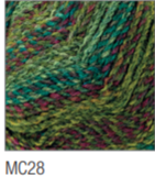 Swatch of Marble Chunky yarn in shade MC28 (light to deep faded greens, blues and purple twists)