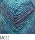 Swatch of Marble Chunky yarn in shade MC32 (light to medium blue shades with twists)