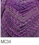 Swatch of Marble Chunky yarn in shade MC34 (medium purple shades with twists)