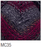 Swatch of Marble Chunky yarn in shade MC35 (light to dark grey, fuchsia with twists)