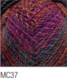 Swatch of Marble Chunky yarn in shade MC37 (faded medium pink, orange, blue shades with twists)