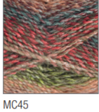Swatch of Marble Chunky yarn in shade MC45 (faded pink shades, blue and green with twists)