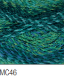 Swatch of Marble Chunky yarn in shade MC46 (blue and green medium shades with twists)